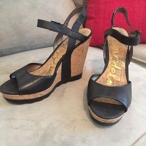 Sam Edelman Black Wedge Sandal 7 1/2m